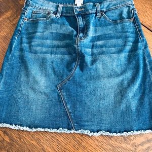 J Crew denim mini skirt, size 12 (never worn)